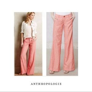 Anthropologie Pilcro Letterpress Coral Wide leg